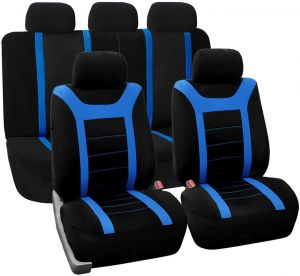 Astonishing Fh Group Fb070Blue115 Universal Fit Full Set Sports Fabric Car Seat Cover With Airbag Split Ready Blue Black Fh Fb070115 Fit Most Car Truck Pdpeps Interior Chair Design Pdpepsorg