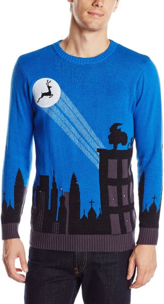 Blizzard Bay Mens Cityscape Light Up Ugly Christmas Sweater Blue