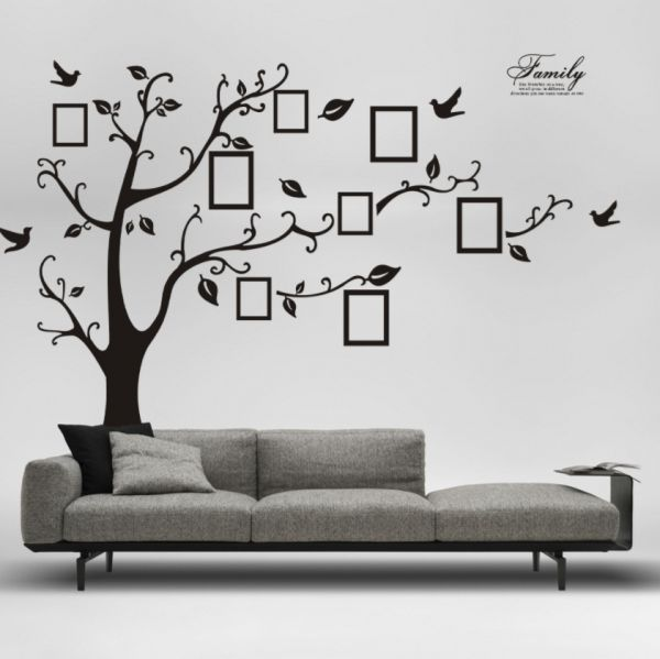 Large Black Photo Frame Tree Wall Decal Diy Vinyl Wall Sticker Mural