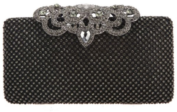573d904a32 Fawziya Crown Clutch Purse Bling Hard Box Rhinestone Crystal Clutch Bag  Grey