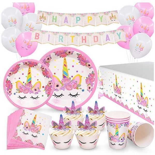 Unicorn Birthday Party Decorations Supplies Serves 16 Favors For Kids Girls Cupcake Toppers Wrappers