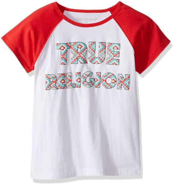 9d5f03e5d True Religion Big Girls' Fashion Short Sleeve Tee Shirt, Raglan White/Red,  XL | KSA | Souq