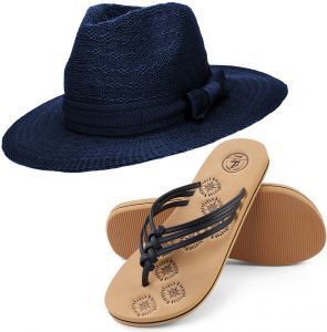 Aerusi Women s Coco Keys Year Round Floppy Straw Sun Hat Foam Sandals  Bundle Set Flip-Flop 431cd6dd655f