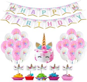 Unicorn Theme Birthday Party Decorations Premium Value Set Happy Magic Rainbow Banner Horn Cake Topper Cupcake Toppers