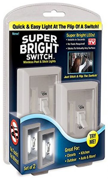 Inditradition Smart LED Super Bright Switch Light, Wireless & Battery Operated, of 2 (White)