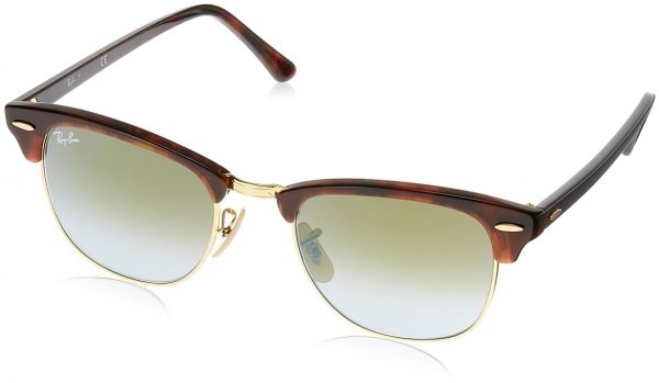 166a5e3a3f ... spain ray ban clubmaster shiny red havana frame green flash gradient  lenses 49mm non polarized bb99a