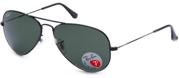 ffa24427e37d7 Ray-Ban AVIATOR LARGE METAL - BLACK Frame CRYSTAL GREEN POLARIZED ...