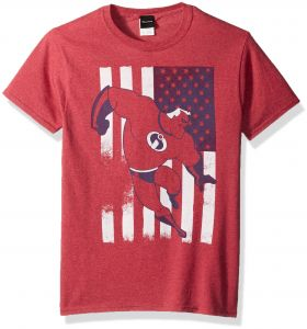 5439b413 Disney Men's Incredibles American USA Flag Graphic Patriotic T-Shirt, Red  Heather, Small