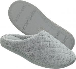 53ae512c4646e7 Dearfoams Women s Quilted Terry Clog Mule Slipper - Padded Terrycloth  Slip-ONS with Skid-Resistant Rubber Outsole