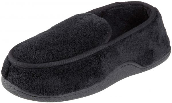 f44c5edbcd9a ISOTONER Men s Terry Moccasin Slipper with Memory Foam for Indoor Outdoor  Comfort