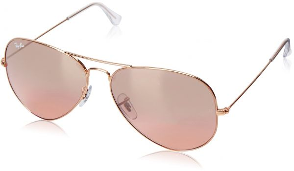 7a7ddf0566acc Ray-Ban AVIATOR LARGE METAL - GOLD Frame CRYS.BROWN-PINK SILVER MIRROR  Lenses 62mm Non-Polarized
