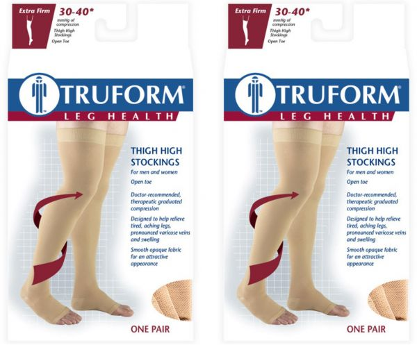 6c2acb98808 Truform Compression 30-40 Mmhg Thigh High Open Toe Dot Top Stockings Beige