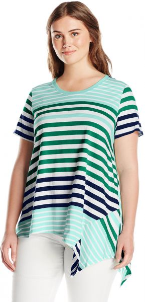00f87188af3f3 Caribbean Joe Women's Short Sleeve Striped Scoop Neck Uneven Hem Tee ...