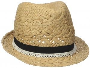 f973407c8d6e D Y Women s Paper Braid Fedora Hat with Faux Leather Ties