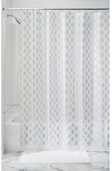 InterDesign Florence Decorative PEVA 3G Shower Curtain Liner PVC FREE MOLD MILDEW RESISTANT ODORLESS No Chemical Smell