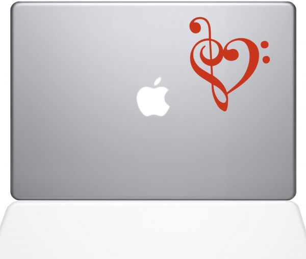 "The Decal Guru 1947-MAC-13P-P Music Heart Decal Vinyl Sticker, 13"" MacBook Pro ‫(2015 & Older), Orange"