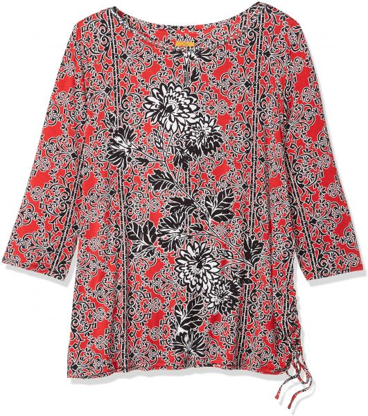 7bf4cb059cc Ruby Rd. Women s Plus-Size Embellished Floral Printed Knit Top with Side  Ruching