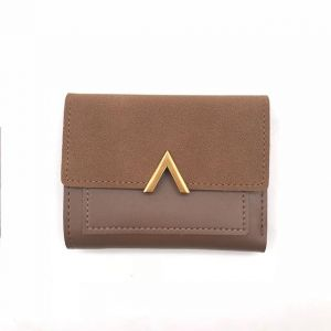 Lady Purse Leather Mini Envelope Wallet Small Clutch Card Holder For Women coffee