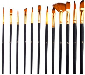 Artist Paint Brushes Set Set Of 13 Premium Exclusive Fine Art Long Handled Paint Brush Carry Bag For Oil Acrylic Watercolor Painting With Palette