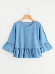 5259c9e998196 Bead Decreation Ruffle Sleeve And Hem Blouse