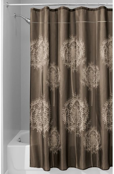 InterDesign Dandelion Shower Curtain 72 X 84 Inch Cocoa