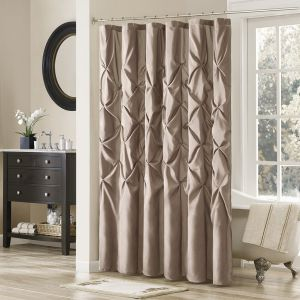 Madison Park Laurel Light Brown Shower Curtain Solid Transitional Curtains For Bathroom 108 X 72 Mushroom