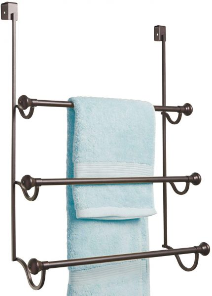 Interdesign York Over The Shower Door 3 Bar Towel Rack Bronze