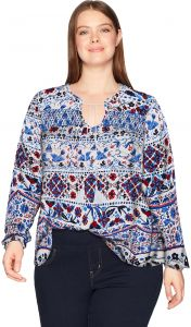 0448053f11b Vintage America Blues Women s Plus Size Camilla Printed Swing Top with Tie