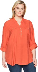 0fd2a9cb4a62e Ruby Rd.. Women s Plus Size Silky Gauze Pleated Top with Button-Front