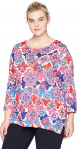 50d4c497985 Ruby Rd.. Women s Plus Size Printed 3 4 Sleeve Knit Tunic Top