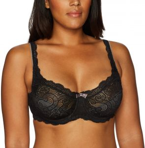 Playtex Womens Love My Curves Beautiful Lace And Lift Underwire Black 40g