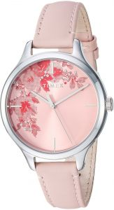 554ee26e9 Timex Women s TW2R66600 Crystal Bloom Pink Silver Floral Accent Leather  Strap Watch