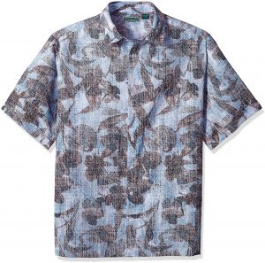dcd4fc42e8 Cubavera Men s Big Short Sleeve Linen-Blend Tropical Floral Print  Button-Down Shirt