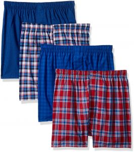 73b7ed97f6 Hanes Men s 4-Pack ComfortBlend Woven Boxers with FreshIQ