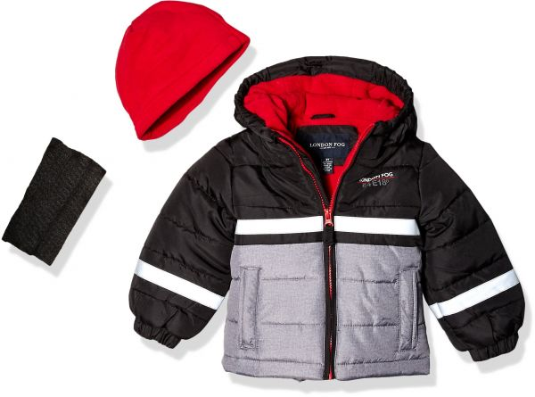 9f231752a London Fog Little Boys  Color Blocked Puffer Jacket Coat with Hat ...