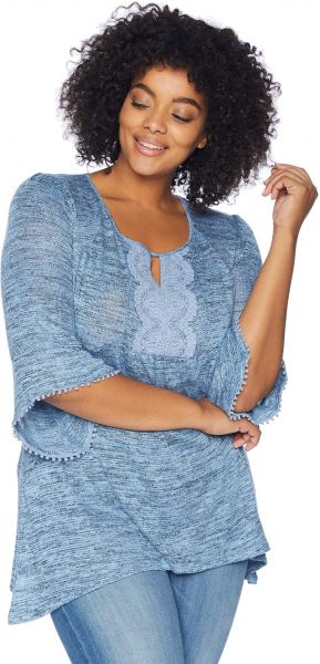 bffb939f289 OneWorld Women s Plus-Size Flared Sleeve Lace Trim Top