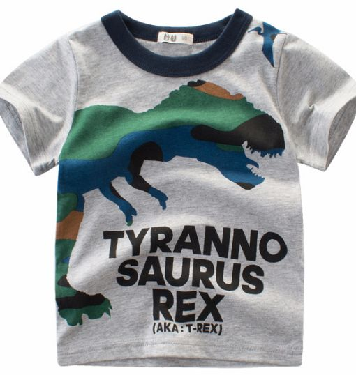 cd9ee03b5 Cartoon dinosaur print t-shirt gray short sleeve boy t-shirt Jurassic Park Dinosaur  pattern t-shirt | Souq - UAE