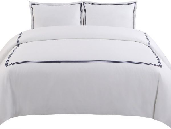 Echelon Home Three Line Hotel Collection Duvet Cover Set Full Queen