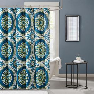 Madison Park MPE70 155 Essentials Serenity Printed Shower Curtain 72x72 Blue72x72