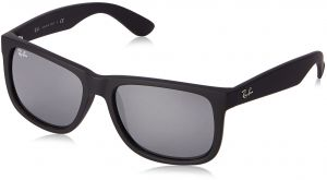 be73a473d72 Ray-Ban Justin Colour Mix RB4165 622 6G Sunglasses Rubber Black Frame Grey  Mirror Silver Lens 55mm