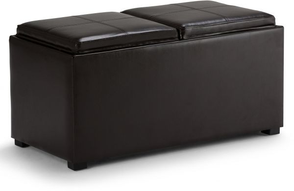 Simpli Home Avalon 3 Piece Rectangular Storage Ottoman W 2 Serving Trays Small Ottomans Pu Leather Brown