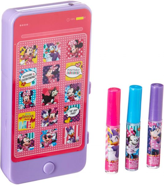 TownleyGirl Minnie Mouse Sparkly Lip Gloss with IPhone Case with Music and  Touch Screen, 4 CT