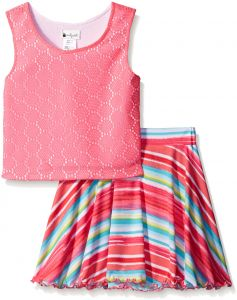 2af83875c7647 Emily West Big Girls' Knit Striped to Watermelon Print Skirt Set, Neon Pink/Multi,  8