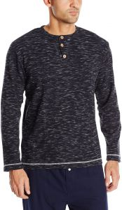 97d88973 Vintage by Majestic International Men's Static Thermal Long Sleeve Henley  Top, Navy, L