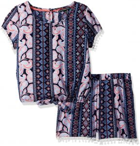 7fa28c709d055 My Michelle Big Girls' Printed Two Piece Set with Tie Front Pom Trim, Navy/ Coral, M