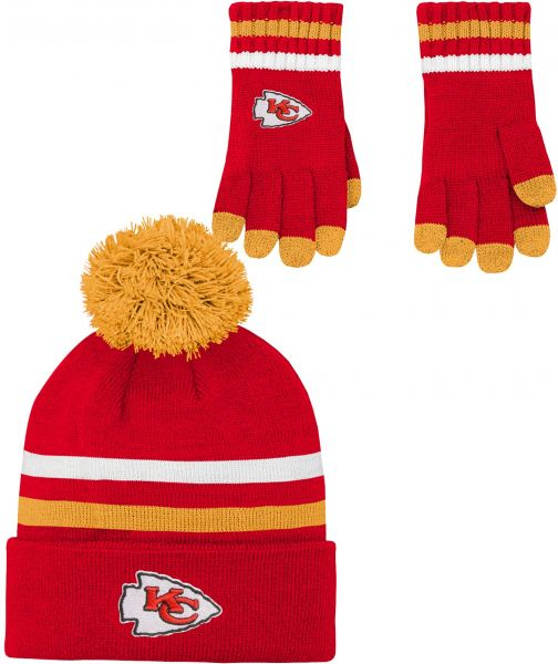 b75f1d70b3401 NFL Youth Boys (8-20) 2 Piece Knit Hat and Gloves Set-Red
