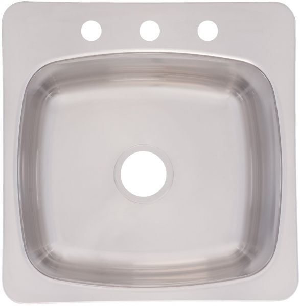 Franke Axis 20 Inch Wide X 10 Inch Deep Topmount 3 Hole Single Bowl