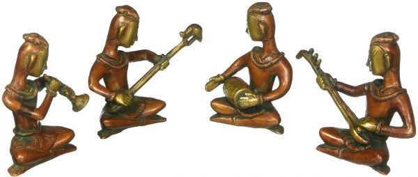 Mp Crafts Brass Set Of Four Indian Musicians Lady Statue Figurine