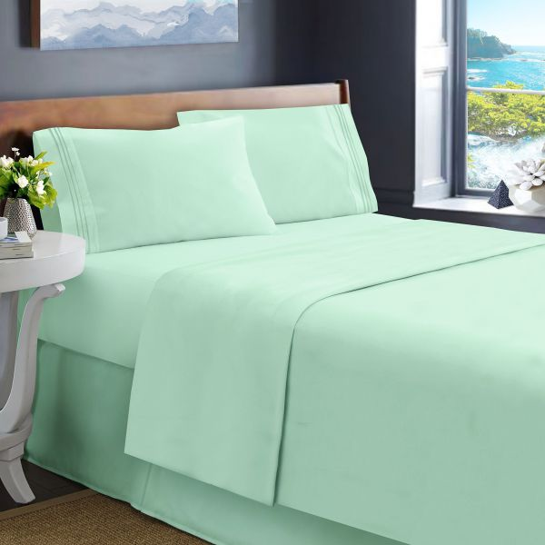 Hearth Harbor Queen Size Bed Sheets Mint Green Soft Luxury Best