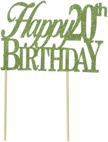 All About Details Lime Green Happy 20th Birthday Cake Topper